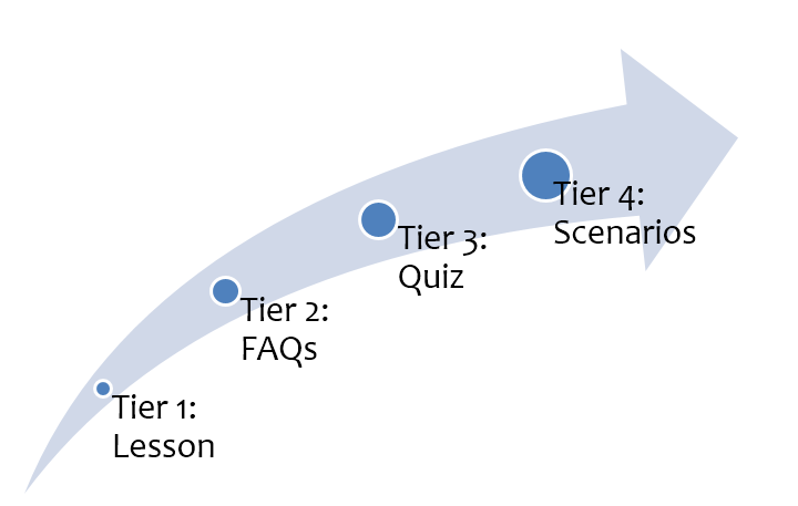 Infographic showing deGRANDSON's four-tier approach to online ISO auditor training